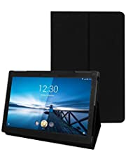 Fastway Executive Leather Flip Flap Case for Lenovo Tab M10 Tablet (10.1 inch, 32GB, Wi-Fi + 4G LTE) Front & Back Cover Black