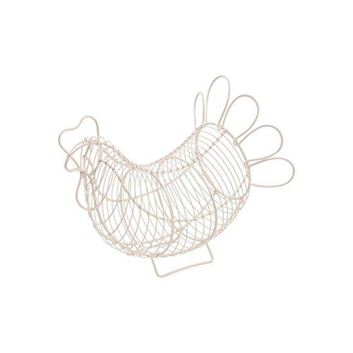 Rustikaler kleiner Eierkorb aus Draht, beschichteter Stahl, 13,5 x 23 x 20 cm H