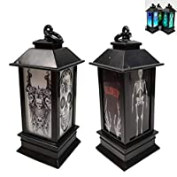 Pack of 2 Plastic Halloween Party Led Light Lantern Skull Skeleton Hanging Lamp Bar Decoration