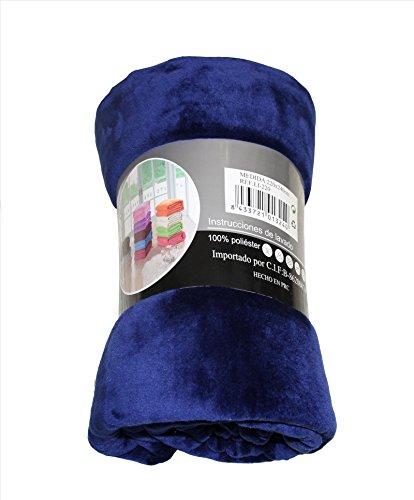 ForenTex - Manta de sedalina, (LI-180 AZUL MARINO), Ultra suave, microseda, para abrigarte con estilo y confort, 180 x 220 cm, 1 kg. No suelta pelo. Para sofá y cama. 1-4 mantas paga solo un envío, descuento equivalente antes de finalizar la compra.