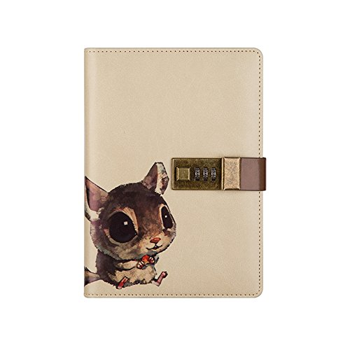 Nainaiwu Journal Notebook Travel Diary PU Leather Writing Notebook with Lock B6 Size Journal to Write in for Girls and Boys Printed Adorable Animal Notepad (Squirrel)