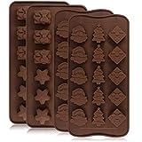 Lot de 4en silicone Chocolat Candy Moules plateaux, Yucool cuisson Jelly Moules, décoration de gâteaux, avec formes d'étoiles, boîte de cadeau, arbre de Noël, Santa Tête-2types