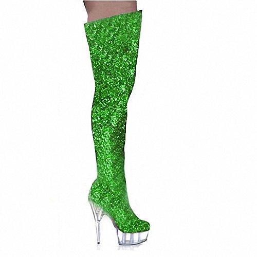 WIKAI Donna Stivali Stivali moda inverno scintillanti Glitter Party & Sera Zipper Stiletto Heel nero argento viola verde blu 5a e oltre Blue
