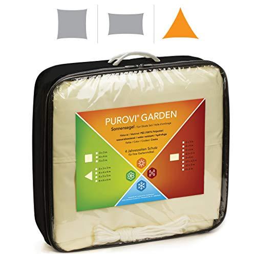 Purovi Voile d'ombrage Triangulaire | différentes Tailles | Protection Anti-UV | PES imperméable à l'eau | Taille: 3m x 3m x 3m