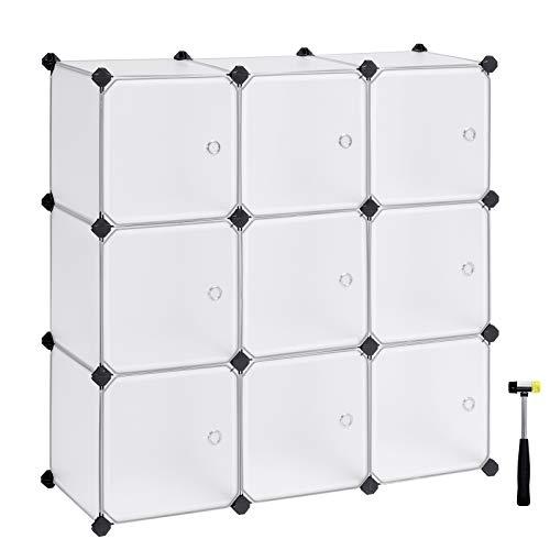 SONGMICS Armario Modular con 9 Cubos, Montaje en Bricolaje, Armario de Almacenamiento...