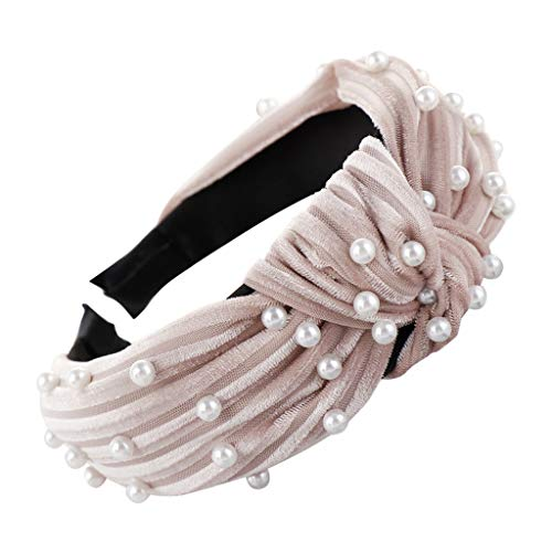 jerferr Haarband Weiß Bogen Knoten Samt Perlen Haarband Haar Kopf Hoop Mädchen Stirnband