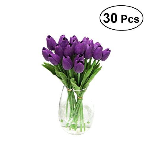 WINOMO Künstliche Blumen PU Tulpen mini gefälschte Blumenstrauß für Haus Büro Hochzeit Dekor 30 Stücke (Lila)