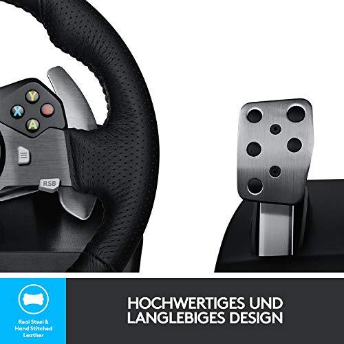 Bild 4: Logitech G920 Driving Force Gaming Rennlenkrad, Zweimotorig Force Feedback, 900° Lenkbereich, Leder-Lenkrad, Verstellbare Edelstahl Bodenpedale, Xbox One/PC/Mac, schwarz