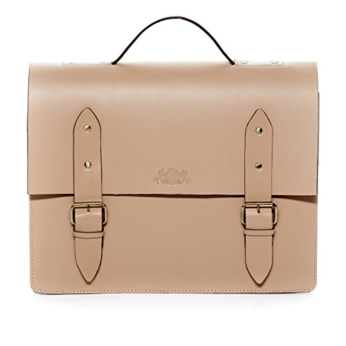 """SID & VAIN XL Aktentasche BRIGHTON - Laptoptasche XL fit für 15.4"""" mit Extra-Abtrennung- Businesstasche mit Schultergurt festes Material - echt Sattelleder schwarz camel-beige"""