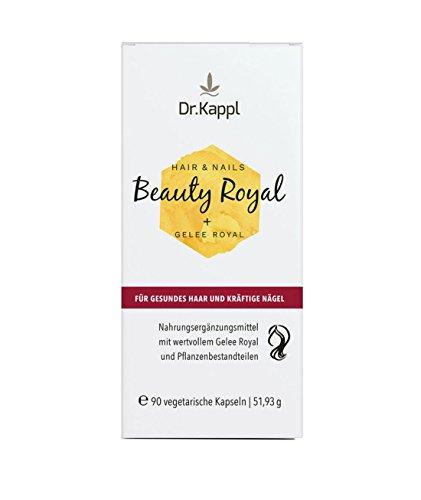 Dr. Kappl, Beauty Royal | Hair & Nails | pflanzliches Nahrungsergänzungsmittel | enthält Vitalpilze, Zink, Bambussprossenextrakt | komplexe Naturkosmetik von innen für kräftige Nägel, gesunde Haare und ein vitales Hautbild | hochdosierte vegetarische Kapseln | 90 Kapsel