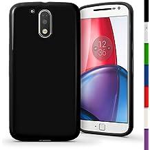 igadgitz Sólido Negro Lustroso Funda Carcasa Gel TPU para Motorola Moto G 4ª Generación XT1622 (Moto G4) & Moto G4 Plus XT1644 Case Cover + Protector Pantalla
