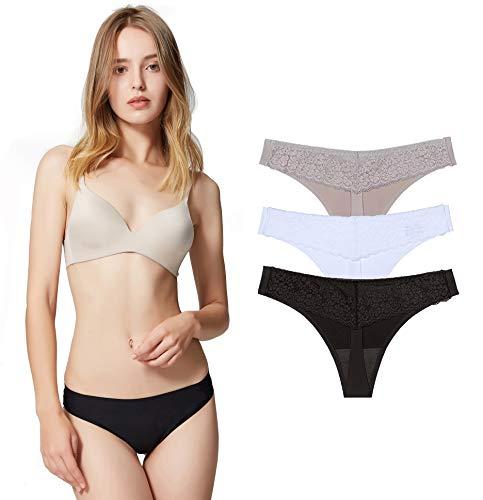 Lastia Encaje Sexy Braguita Tangas Pantalones de Mujer sin Costuras Señoras Bragas, Pack de 6