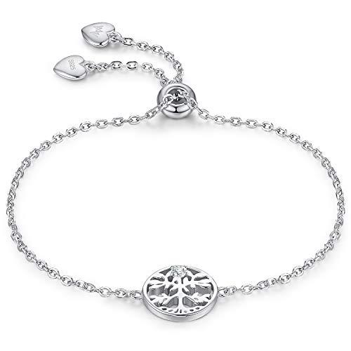 WISHMISS Mini Mädchen Sterling Silber Armband 0-210 mm Silber Baum des Lebens Armband Stammbaum Anhänger Einstellbare Kette Armband Blau Geschenk Box Schmuck Geschenk für Frauen/Mädchen