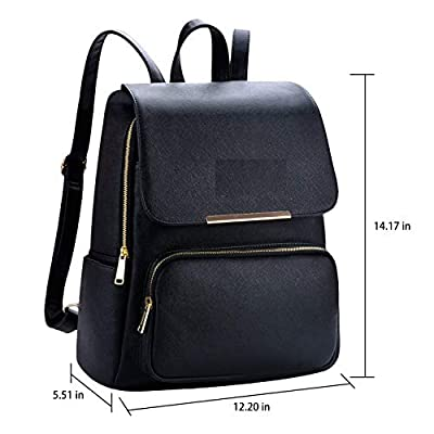Vintage Girl's Synthetic Backpack Shoulder Bag (Black)