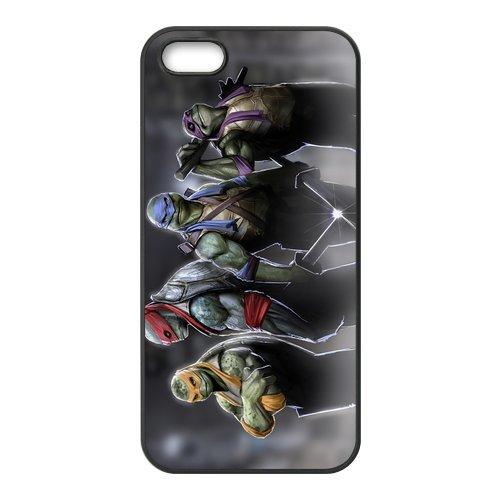 Teenage Mutant Ninja Turtles Design Durable TPU Coque de protection pour Apple iPhone 55S, iPhone 5S, iPhone 5/5S Coque de protection Case (Blanc/Noir)