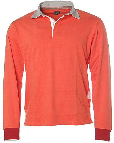 Kitaro Herren Langarm Shirt Polokragen Poloshirt Spice Orange