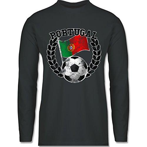 EM 2016 - Frankreich - Portugal Flagge & Fußball Vintage - Longsleeve / langärmeliges T-Shirt für Herren Anthrazit