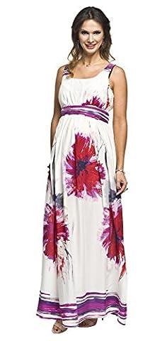 Sommerkleid für Schwangere und Nicht-Schwangere Damen, Umstandskleid, Modell: MAXI, creme-amaranth, M