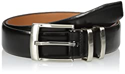 Van Heusen Men Men Leather Belt With Metal Double Loop, black, 44