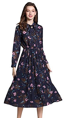 shineflow Damen Sommer Blumendruck Lange Ärmel elastische Taille Plissee Kleid Knielänge (M, Blau) -