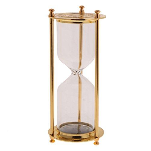 Blesiya Retro Metal Frame Empty Reloj De Arena Sandglass Sand Timer Home Decor - Oro, Tamaño (DxH): 7 x 16 cm