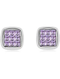 NEVI Square Swarovski Crystals Rhodium Plated Stud Earrings Jewellery for Women And Girls