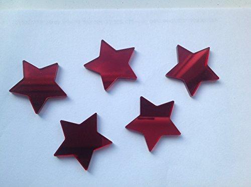 X 20. Adornos Espejo de acrílico en forma de corazón rojo 2cm