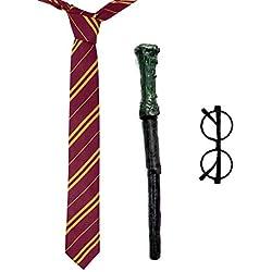 Clafund Mago Scuola Ragazzo Costume Cravatta+Occhiali+Bacchetta Magica Mago Vestito Book Week Colore Rosso&Giallo