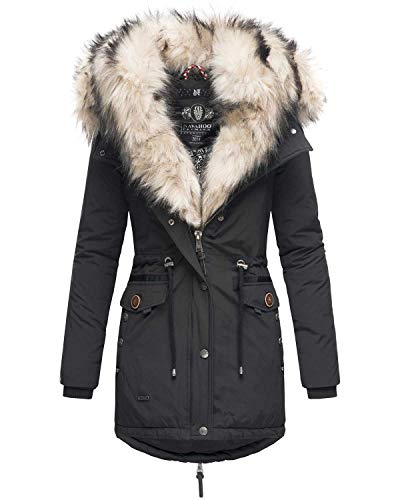 Navahoo 2in1 Damen Winter Jacke Parka Mantel Winterjacke warm Fell B365 [B365-Schwarz-Gr.M]