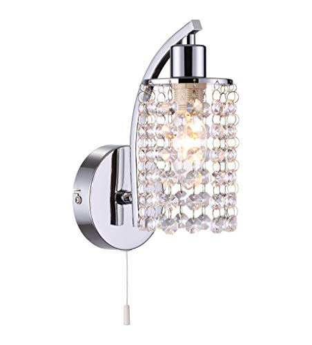 1 LIGHT WALL BRACKET IN CHROME WITH GLASS BEAD SHADE -