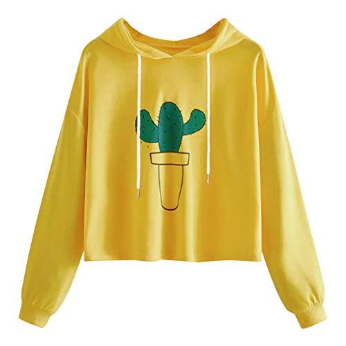 Xmiral Kapuzenpullover Damen Kaktus Drucken Kurz Sweatshirt Abgeschnittener Hoodie Lange Ärmel Beiläufig Lose Pullover Tops T-Shirts(Gelb,M)