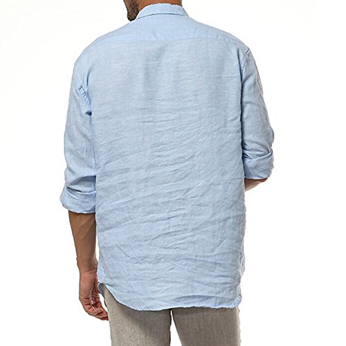 caf1247f0ee62 Najia Symbol Mens Casual 100% Linen Rolled up Long Sleeve Buttons Shirts -  Buy Online in UAE.