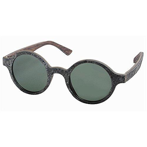 Y-WEIFENG Herren Sonnenbrille Kleine Runde Form Retro Stil Handgefertigte Stein und Holz Polarisierte Sonnenbrille TAC Objektiv UV Fahren Angeln Strand Sonnenbrille (Farbe : Grau)