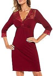r-dessous Exklusives Damen Nachtkleid Langarm Negligee Sleepshirt Viskose Nachtwäsche Nachthemd Dessous Groesse, Rot, 44