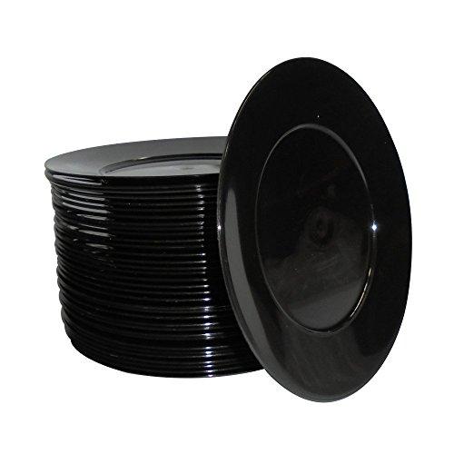 Dessert schwarz cm 17Teller aus lebensmittelechtem Kunststoff Hartschale für Aperitif ()