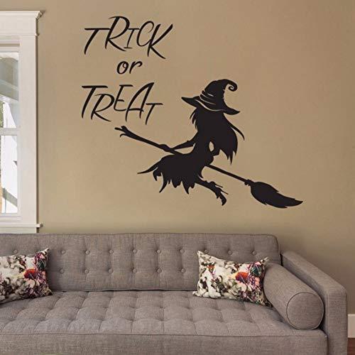 e Vinyle De Sorcière De Décalque De Mur De Citation De Halloween Pour Le Décor À La Maison De Porte De Fenêtre 80X90Cm ()