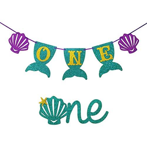 Meerjungfrau Thema EINE 1. erste Geburtstag Banner mit EINEM Kuchen Topper für nautische Meerjungfrau 1. erste Geburtstagsfeier Dekoration liefert ()