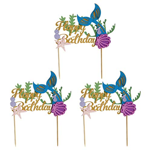 SUPVOX Kuchen Toppers Alles Gute Zum Geburtstag Brief Cupcakes Picks Glitter Muffin Topper Pickers für Halloween Kinder Geburtstag Thema Party Dekoration 3 STÜCKE