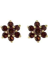 Ivy Gems Halskette 9 kt Gelbgold Granat Ohrringe Ohrstecker Blume