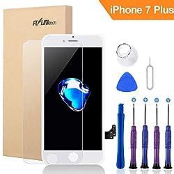 """FLYLINKTECH Für iPhone 7 Plus Display Schwarz, LCD 3D Touchscreen Digitizer Assembly mit Werkzeuge und Displayschutzfolie Für iPhone 7 Plus Schwarz 5.5"""" (Weiß)"""
