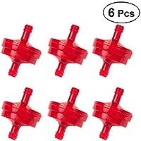 OUNONA - Filtro de Combustible en línea de plástico para línea de Combustible DE 1/4 para cortacésped de césped y Motocicleta (Rojo)