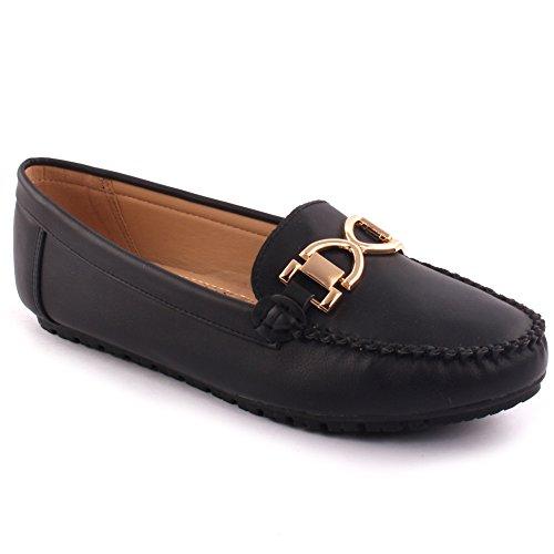 Unze Nouvelles Femmes 'Tchate' Office Boucle Métallique Occasionnels de l'école et Déclare à la Télévision Télévision Confortables Mocassins Mocassin Chaussures Pompes Size UK 3-8