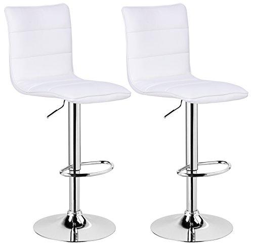 WOLTU BH15ws-2 Design Hocker mit Griff, 2er Set, stufenlose Höhenverstellung, verchromter Stahl, Antirutschgummi, pflegeleichter Kunstleder, gut gepolsterte Sitzfläche, weiß - Weißer Barhocker