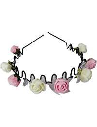 Flower Headband / Hairband / Hair Band For Girls And Women (Baby Pink / White