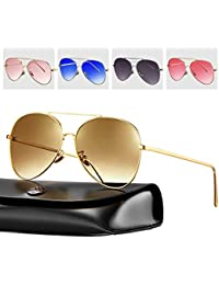 bb591e13c3 Rezi Gafas de Sol Polarizadas Gafas de sol Hombre y Mujeres, Gafas de Sol  Aviador UV400 Lentes de PC y Montura de Acero Inoxidable con…