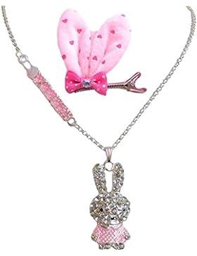 Rosa Tono Plata Diamante Conejo Colgante Collar + Clip En Orejas De Conejo De Arco De