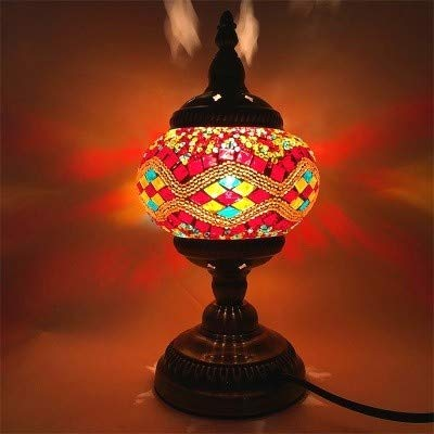 QANAN Table Lamp Newest E14 Hand-inlaid glass mosaic bedroom living room decorative Table Lamps of Mediterranean style Turkish Lamps,C