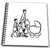 3dRose DB _ 151145_ 2Vintage 1940s papà con bambini e Baby carriage-memory libro, 12da