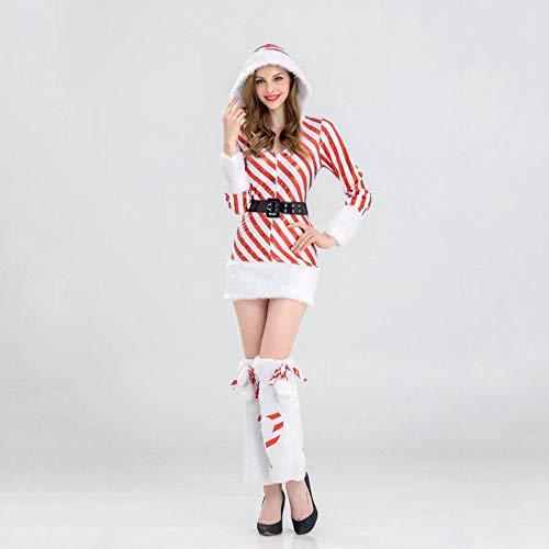 SPFAZJ Santa Anzug Kostüm 2018 Sexy Overall rot und weiß gestreift Weihnachtskostüm Erwachsene - Santa Overall Für Erwachsene Kostüm