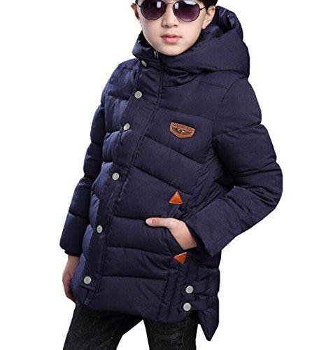 OMSLIFE Junge verdickte Daunenjacken Wintermantel mit kapuze Winter Jacke (Blau, 110/116(Etikett 120))